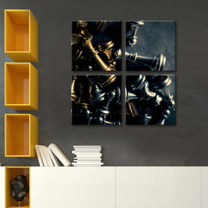 Gold And Silver Chess Pieces Multi Panel Canvas Wall Art - Chess