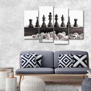 BW Chess Pieces Multi Panel Canvas Wall Art - Chess