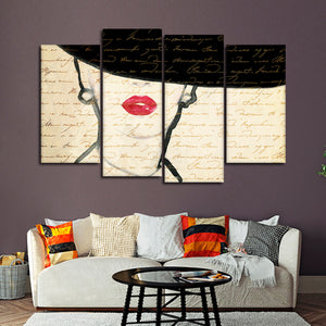 Chic Lady Multi Panel Canvas Wall Art - Portrait