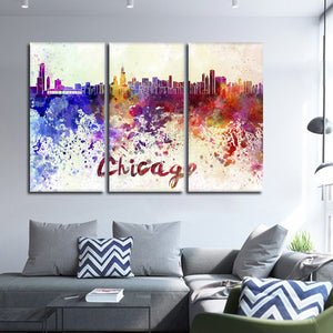 Chicago Watercolor Skyline Multi Panel Canvas Wall Art - City