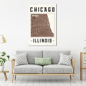 Chicago Map Multi Panel Canvas Wall Art - America