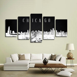 Chicago Watercolor Skyline BW Multi Panel Canvas Wall Art - City