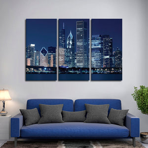 Chicago at Night Multi Panel Canvas Wall Art - City