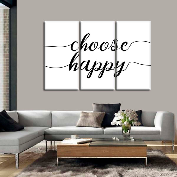 Choose Happy Minimalist Multi Panel Canvas Wall Art | ElephantStock