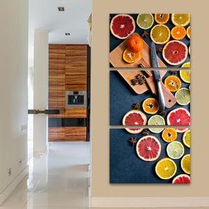 Citrus Fruits Multi Panel Canvas Wall Art - Kitchen