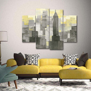 City Blocks Neutral Multi Panel Canvas Wall Art - City