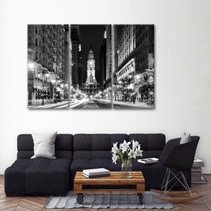 City Hall Philadelphia BW Multi Panel Canvas Wall Art - City