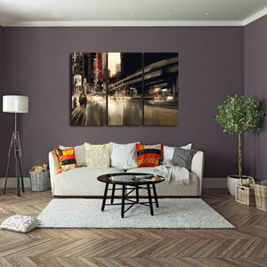 City Rush Multi Panel Canvas Wall Art - City