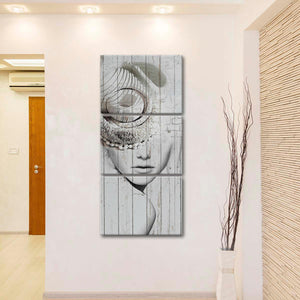 Classic Lady Within Multi Panel Canvas Wall Art - Portrait