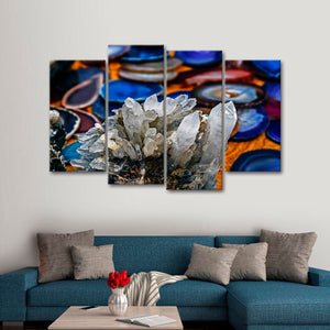 Clear Quartz Multi Panel Canvas Wall Art - Macro