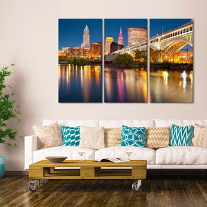 Cleveland Multi Panel Canvas Wall Art - City