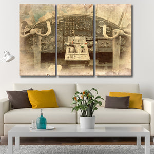 Cockpit Postcard Multi Panel Canvas Wall Art - Airplane