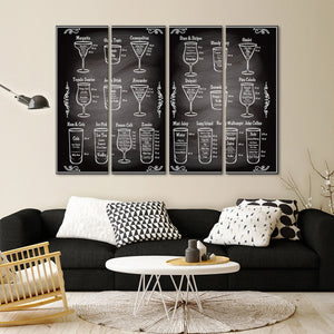Cocktail Ingredients Multi Panel Canvas Wall Art