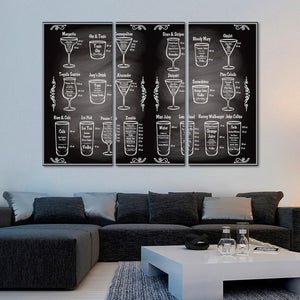 Cocktail Ingredients Multi Panel Canvas Wall Art - Winery