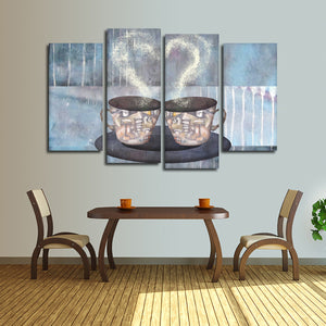 Coffee For Two Multi Panel Canvas Wall Art - Coffee