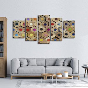 Colored Pencils Multi Panel Canvas Wall Art - Painter