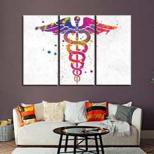 Colorful Caduceus Multi Panel Canvas Wall Art - Medical