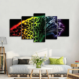 Colorful Cheetah Multi Panel Canvas Wall Art - Jaguar
