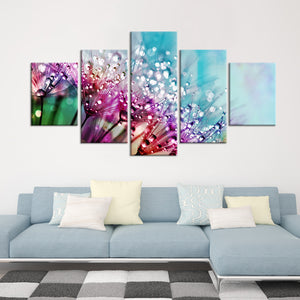 Colorful Dew Multi Panel Canvas Wall Art - Flower