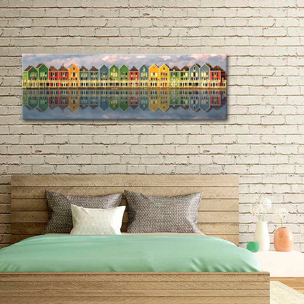Colorful Homes Multi Panel Canvas Wall Art