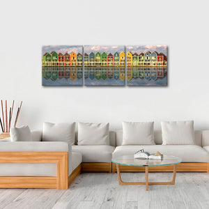 Colorful Homes Multi Panel Canvas Wall Art - City
