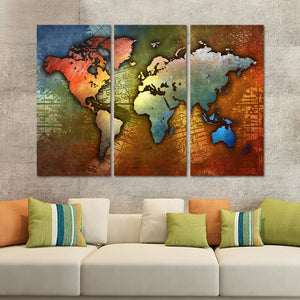 Colorful Metal World Map Multi Panel Canvas Wall Art - World_map