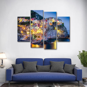 Colorful Village Multi Panel Canvas Wall Art - Village