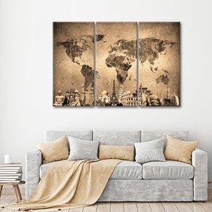 Colorful World Map Masterpiece II Multi Panel Canvas Wall Art - World_map