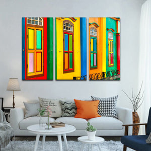 Colorful Facade Multi Panel Canvas Wall Art - Color
