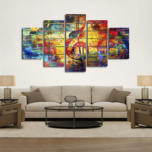 Colorful Music Multi Panel Canvas Wall Art - Music