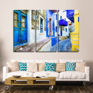 Colorful Street In Greece Multi Panel Canvas Wall Art - City