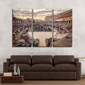 Colosseum At Sunset Multi Panel Canvas Wall Art - Landmarks