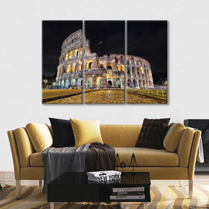 Colosseum In The Moonlight Multi Panel Canvas Wall Art - Landmarks