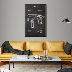 Firearm Patent BW Canvas Wall Art - Hunting