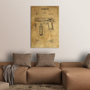 Firearm Patent Canvas Wall Art - Hunting