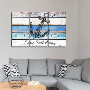 Come Sail Away Nautical Multi Panel Canvas Wall Art - Nautical