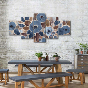 Contemporary Tapestry Blue Multi Panel Canvas Wall Art - Flower