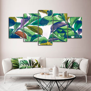 Cool Banana Leaves Multi Panel Canvas Wall Art - Botanical