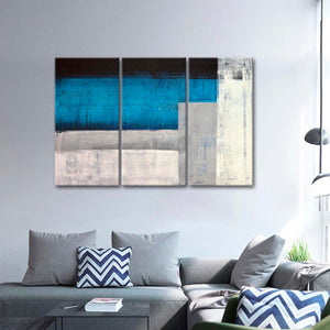Cool Tone Abstract Multi Panel Canvas Wall Art - Abstract