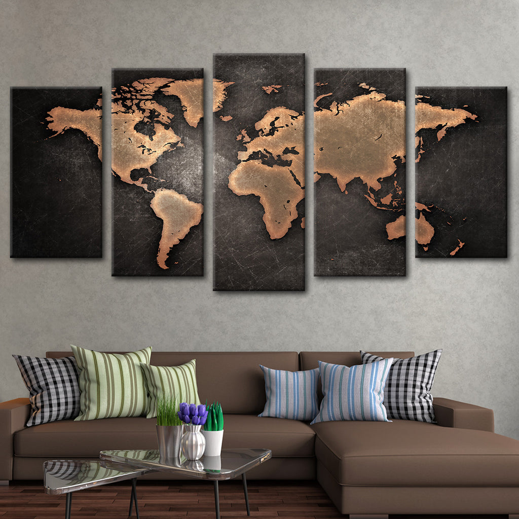 copper world map multi panel canvas wall art elephantstock. Black Bedroom Furniture Sets. Home Design Ideas