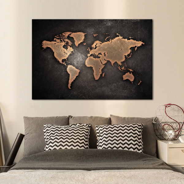 Multi Panel Canvas Wall Art copper world map multi panel canvas wall art – elephantstock