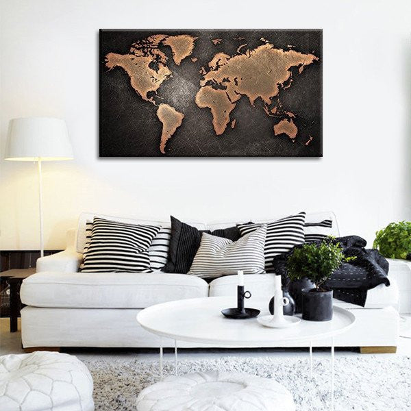 Copper World Map Multi Panel Canvas Wall Art Elephantstock