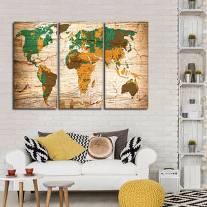 Wooden Safari World Map Multi Panel Canvas Wall Art - World_map