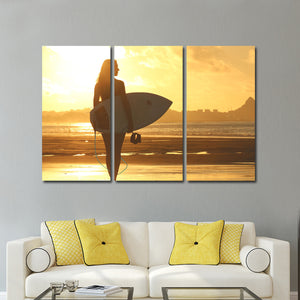 Gorgeous Surfer Multi Panel Canvas Wall Art - Beach
