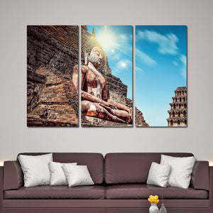 Ancient Buddha Statue Multi Panel Canvas Wall Art - Buddhism
