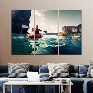 Kayak At Kauai Multi Panel Canvas Wall Art - Kayak