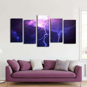 Cosmic Lightning Multi Panel Canvas Wall Art - Astronomy