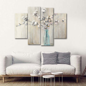 Cotton Bouquet Multi Panel Canvas Wall Art - Flower