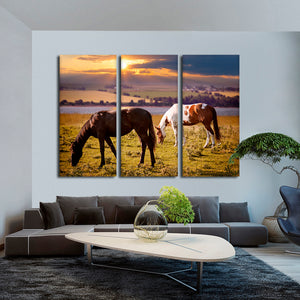 Countryside View Multi Panel Canvas Wall Art - Horse
