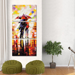 Couple Under Umbrella Multi Panel Canvas Wall Art - Abstract